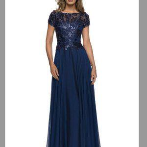 La Femme Navy Blue  Short Sleeve Gown Dress